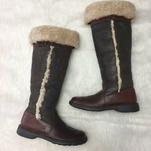 $250 BORN KNEE HIGH SHEARLING SUEDE LEATHER BOOTS